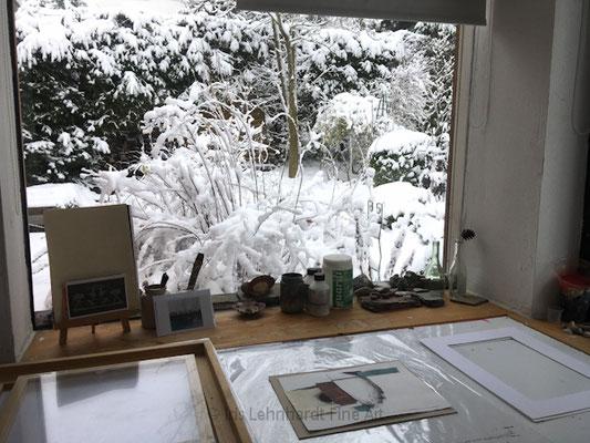 im Atelier, Januar 2021