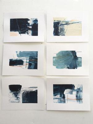 Blue Scapes, Mischtechnik auf Papier, Iris Lehnhardt 2021