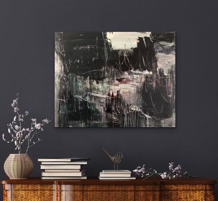 Fugue, 100x80 cm, Mischtechnik auf Leinwand,  Iris Lehnhardt 2020