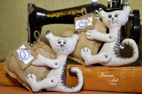 Валентинки-котята (льон, мішковина)