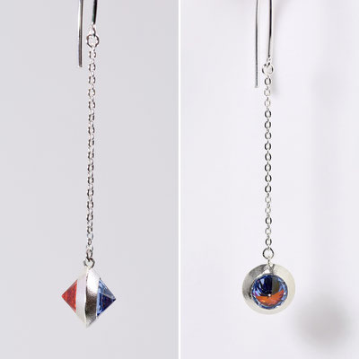 [ピアス] two color pierce / Orange & Sky Blue詳細写真2