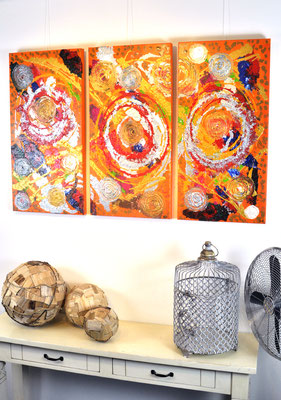 Triplets, 3 x 40 x 80 cm.  Painting by Dieter Verspeelt