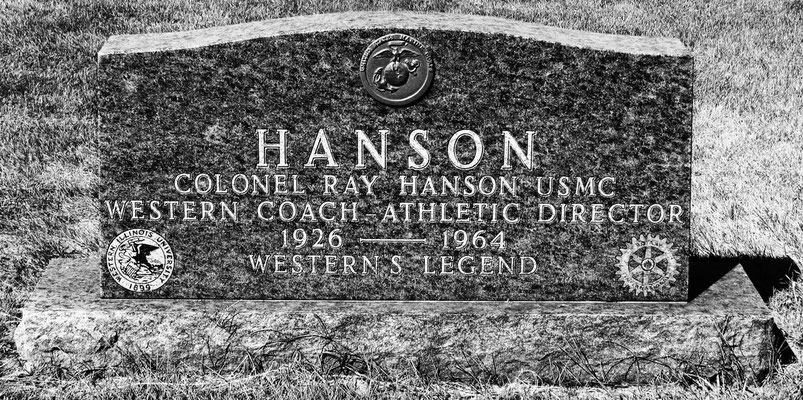 This stone marks the grave of celebrated WIU coach Ray Hanson. Hanson was a complex figure who generated much controversy during his lifetime but who did much to develop Western's athletic program.