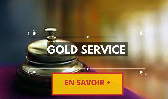 service gold, qualité, eau fraîche, wifi à bord, journeaux du jour, chargeur mobile universel, demie bouteille de champagne