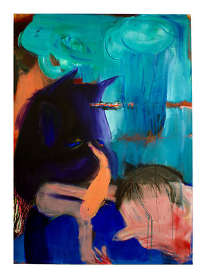 Badman and Boy, 2019, oil and acrylic on canvas, 280 x 200 cm / 110.24 x 78.74 inches