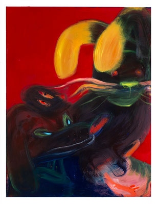 Hasenjagd, 2020,  oil and acrylic on canvas, 160 x 120 cm / 63 x 47.24  inches
