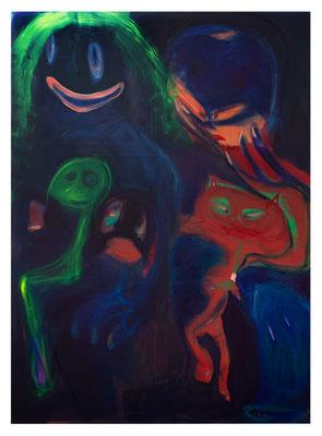 Nachts sind alle Katzen Superhelden, 2019, oil and acrylic on canvas, 220 x 160 cm / 86.61 x 63  inches