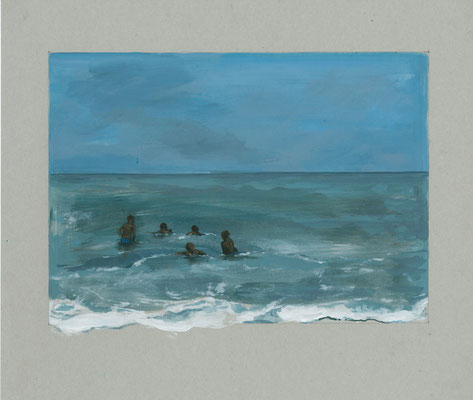 """""""Kinderen in de zee Gambia""""  12x15 cm 2015"""