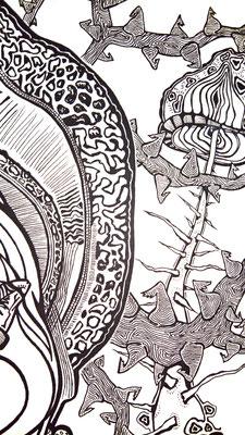 """""""Paddenstoelmeisje"""" detail fineliner 2010"""