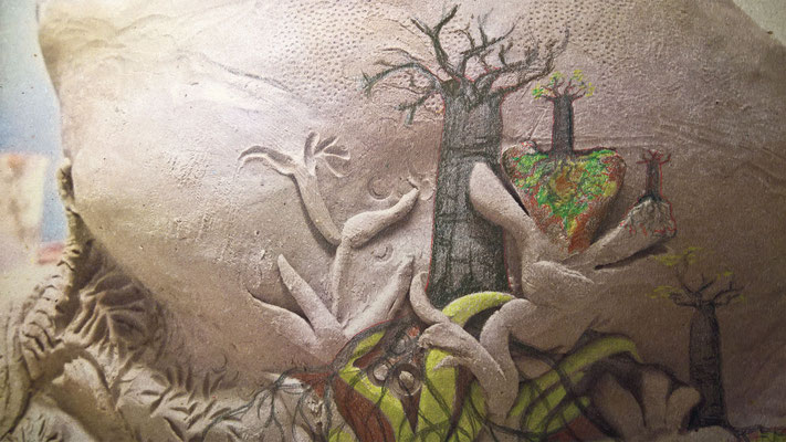 """""""De legende van de baobab"""" mix media 2016"""