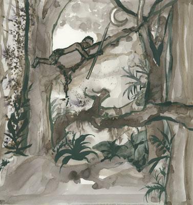 """Illustratie bij een verhaal over """"Kankurang"""" acryl / bistre 2015"""