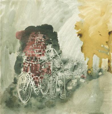 """Reeks """"De man met de bakstenen fiets"""" 30x30 cm Linodruk / bistre, 2015"""