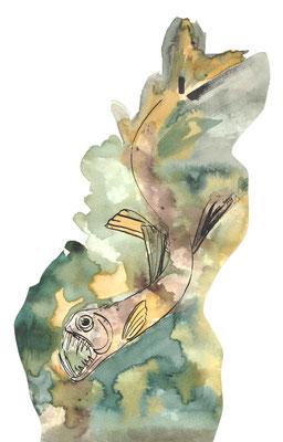 "Reeks ""diepzeevissen"" ink / bistre 2016"