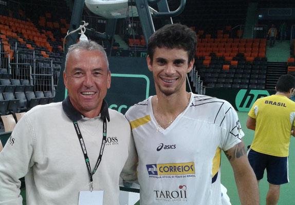 mit Rogerio Dutra Silva beim Training Davis Cup 2013