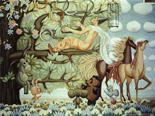 """Фрагмент росписи """"Сон"""" 1988, детский сад, г. Дмитров."""