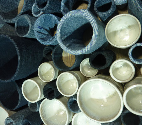 Réf : TT202002 - Grès émaillé et tissus jean - 60cm x 60cm