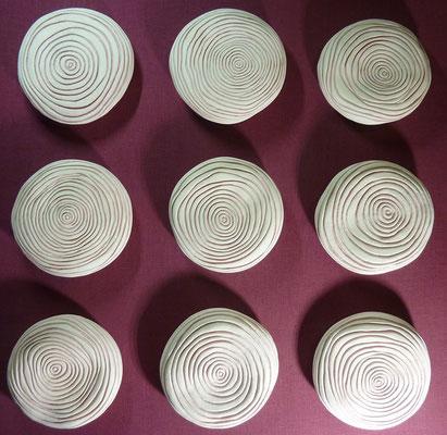 Réf : TT202001 - Faïence et lin bordeaux - 105cm x 105cm