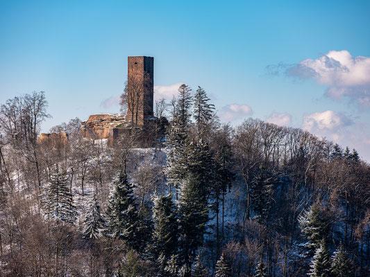 Winterliche Aussicht auf die Ruine Scharfenberg