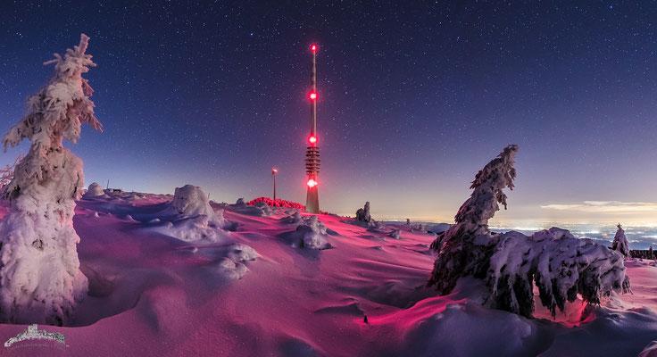 Sternklare Winternacht auf der Hornisgrinde (Schwarzwald), 120 x 60 cm, Acryl-Fineart, Rückseitige Hängung mit Auminiumschiene, 260 €