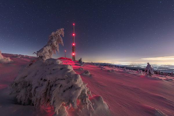 Sternklare Winternacht auf der Hornisgrinde