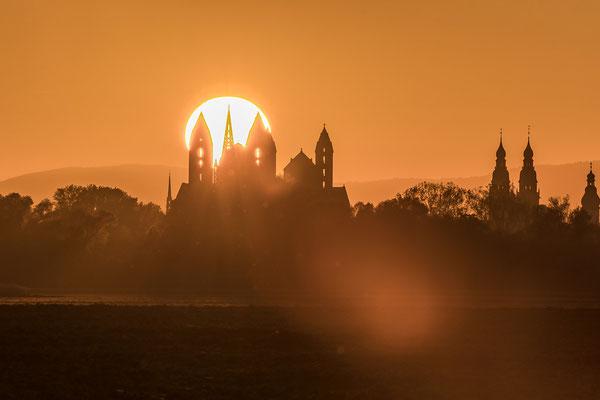 Sonnenuntergang hinter Speyerer Dom und Gedächtniskirche