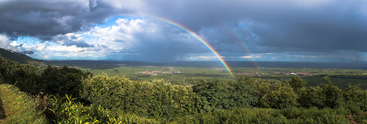Regenbogen über der Rheinebene