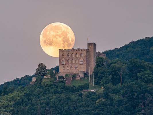 Vollmonduntergang hinter dem Hambacher Schloss