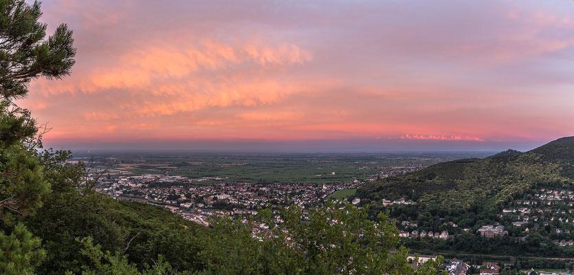Blick über die Rheinebene im Abendrot