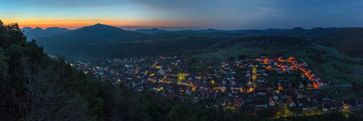 Panoramablick am Ende der Nacht