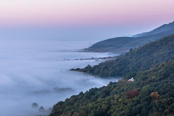 Blick nach Süden übers Nebelmeer der Haardt