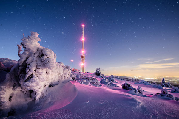 Eiskalte Winternacht auf der Hornisgrinde