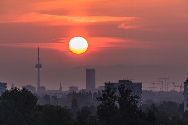 Sonnenaufgang hinter dem Mannheimer Fernsehturm