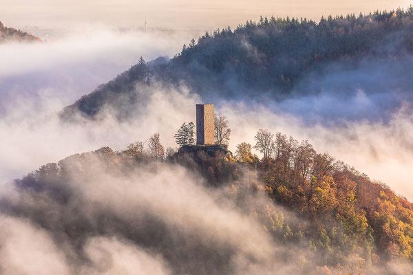 Nebel umwabert die Ruine Münz