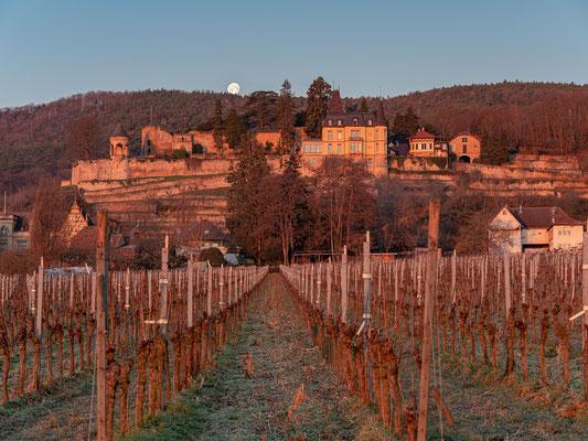 Monduntergang hinter dem Haardter Schloss