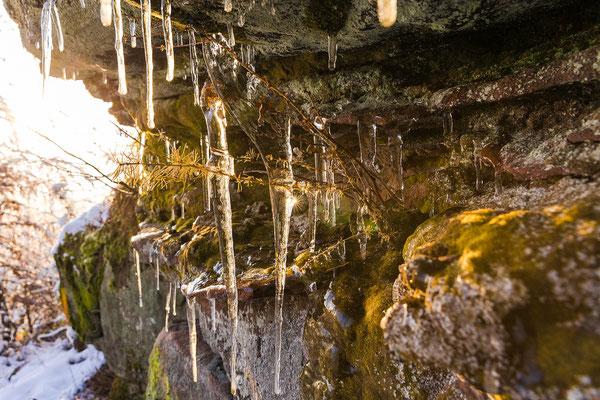 Eiszapfen unterhalb des Kirschfelsens