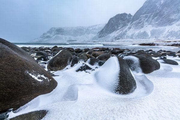 Schneesturm bei Unstad