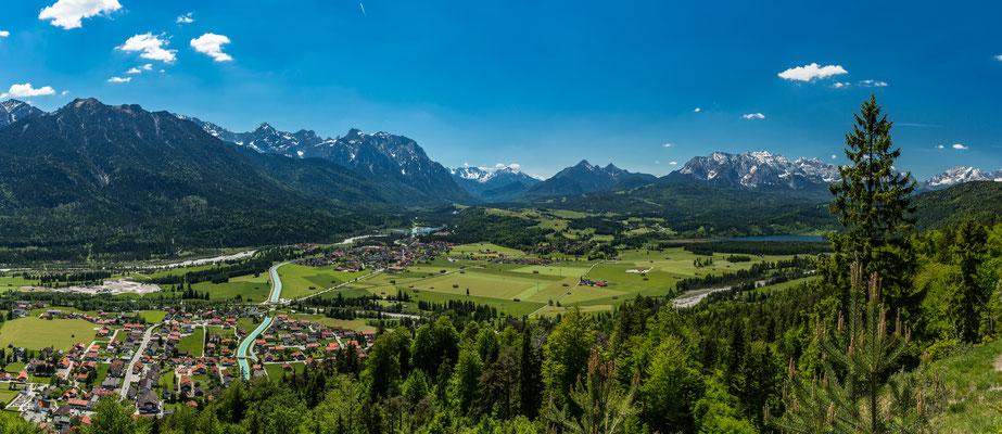 Panoramablick von Wallgau in Richtung Mittenwald
