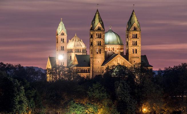 Blaue Stunde am Rhein bei Speyer