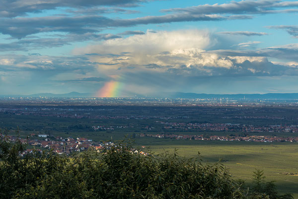 Ferner Regenbogen über BASF und Odenwald