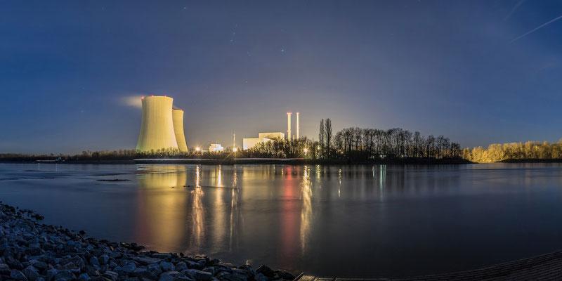 Panoramaaufnahme - Kraftwerk bei Philippsburg, 120 x 60 cm,  Alu-Dibond mit Acrylglas, Rückseitige Hängung mit Aluminiumschiene, 290 €