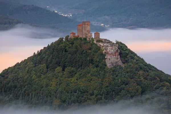 Burg Trifels in nebliger Vollmondnacht