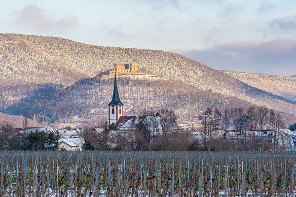 Winterliche Pfalz: Blick auf Hambacher Schloss und Diedesfelder Kirche