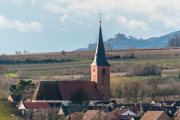 Blick auf Forst mit Hambacher Schloss im Hintergrund