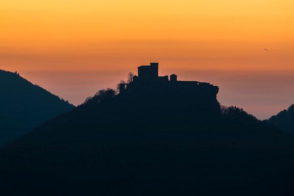 Burg Trifels im frühen Licht des Morgens