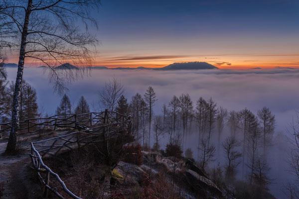 Wintermorgen am Kirschfelsen, 50 x 75 cm, Forex, Hängung: Aluminiumschiene, 95 €