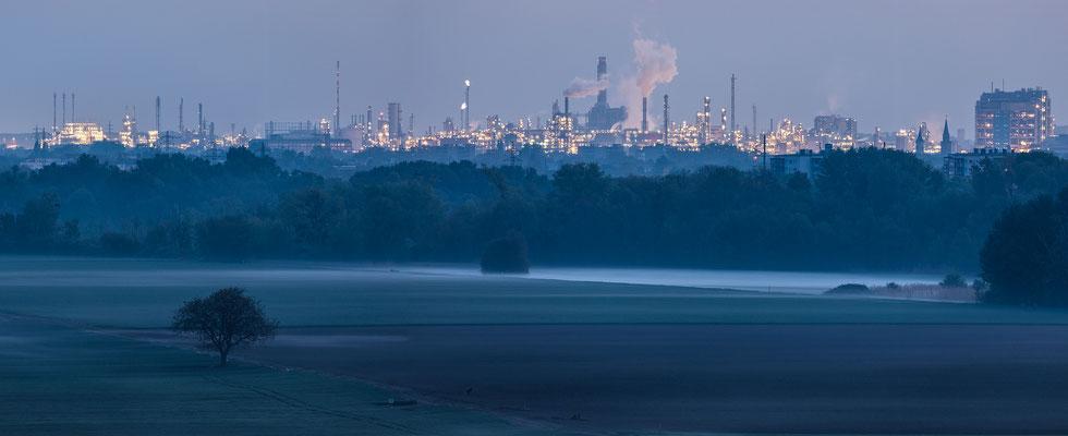 Blick auf die BASF im Morgengrauen