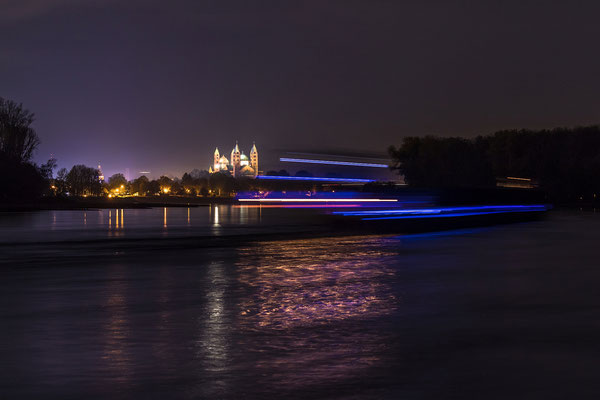 Speyer und Rhein bei Nacht