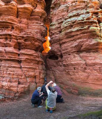 Felsenglühen: ein beliebtes Ereignis am Alstschloßfelsen