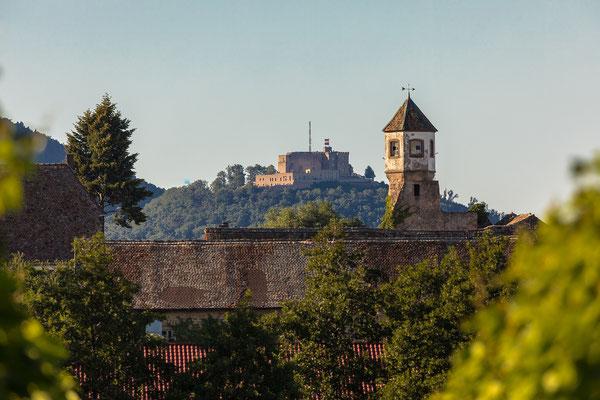 Kloster Heilsbruck, Hambacher Schloss und Kalmit auf einer Linie
