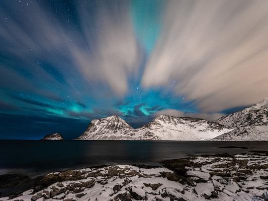 Polarlichter am Hauklandstranda